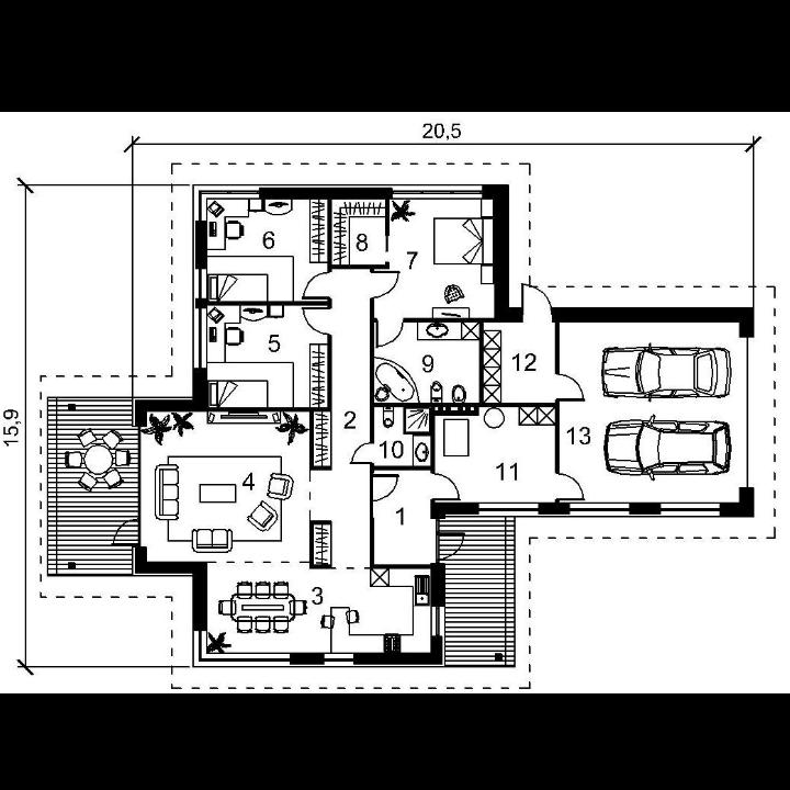 Single-storey house project Adomas